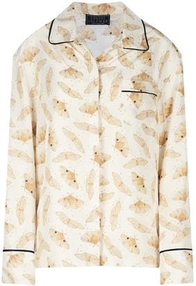 Louise Coleman Ivory Moths Silk Shirt