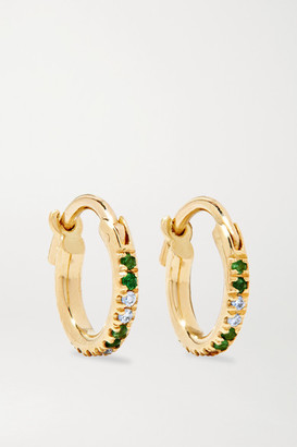 Ileana Makri 18-karat Gold, Tsavorite And Diamond Hoop Earrings - one size