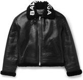 Balenciaga Printed Shearling Bomber Jacket