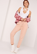 Missguided Lace Up Front Joggers Nude
