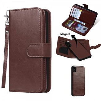 Hlc 2 IN 1 Leather Wallet Case with 9 Credit Card Slots and Removable Back Cover for iPhone X (Brown)