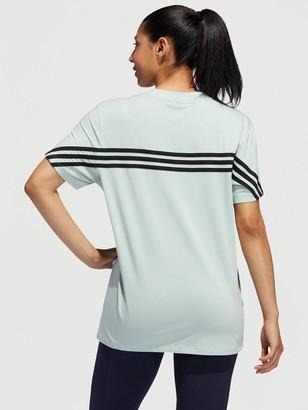 adidas Must Haves 3 Stripe Short Sleeve T-Shirt- Green