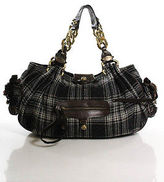 Juicy Couture Black Wool Plaid Hobo Shoulder Handbag Size Medium