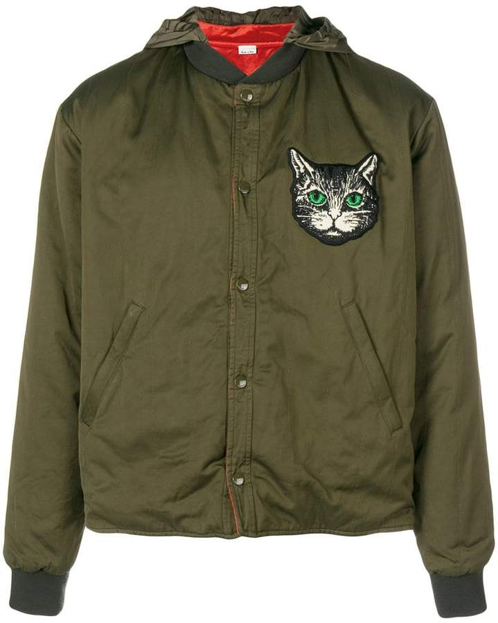 Gucci cat-embroidered bomber jacket