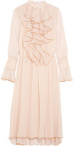 See by Chloe Ruffled Crinkled-chiffon Midi Dress - Pink