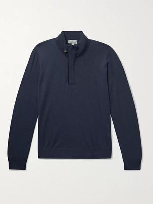 Canali Slim-Fit Suede-Trimmed Wool Half-Zip Sweater - Men - Blue