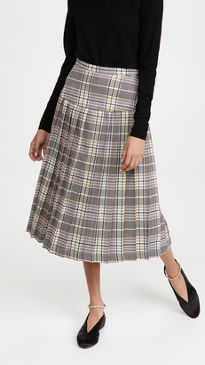 Rodarte Pink And Blue Plaid Pleated Skirt