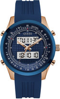 GUESS Men's Chronograph Blue Silicone Strap Watch 45mm U0862G1