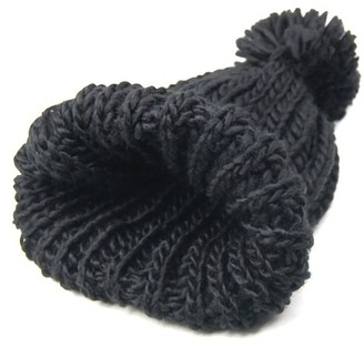 Accessotech Retro Oversized Slouch Ladies Warm Stretch Beanie Bobble Hat Knitted Winter Black