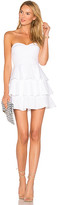 Amanda Uprichard Tiered Ruffle Dress in White. - size L (also in M,S,XS)