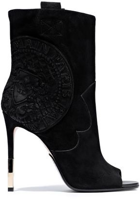 Balmain Embossed Suede Ankle Boots