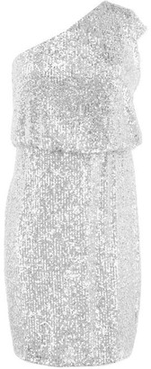 Adrianna Papell Adrianna One Shoulder Silver Sequin Dress