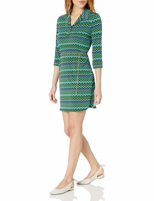 Tiana B T I A N A B. Women's 3/4 Sleeve Chevron Printed Jersey Shirt Dress with Chain Belt
