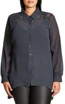 City Chic Plus Size Women's Flutter Lace Shirt