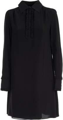 McQ Dress L/s Mini Shirt Neck W/ruflle