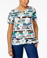 Alfred Dunner Striped Floral-Print Top