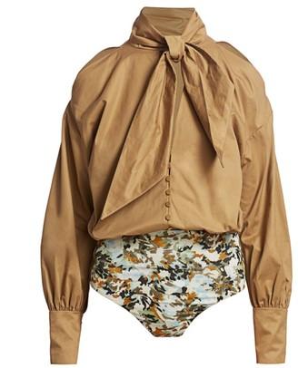 Silvia Tcherassi Gemma Poplin Puff-Sleeve Bodysuit