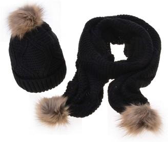 Zeagoo Womens Stylish New Knit Winter Warm Ski Slouch Hat Cap + Scarf Set