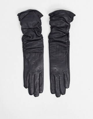 ASOS DESIGN leather touch screen long ruched gloves in black