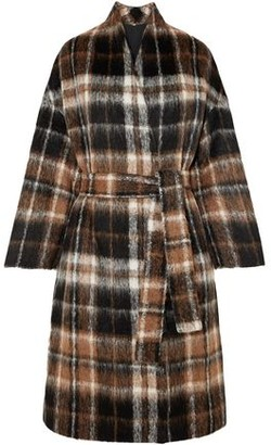 Brunello Cucinelli Embellished Checked Alpaca And Wool-blend Coat