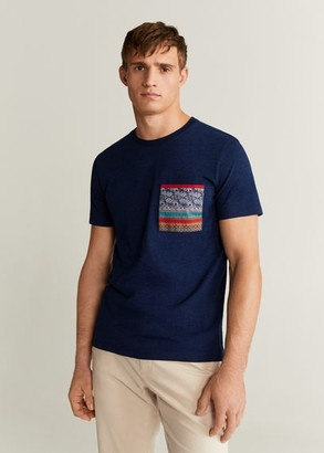 MANGO MAN - Pocket printed cotton t-shirt indigo blue - S - Men