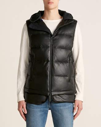 TEMPLA Black Leather Puffer Down Vest