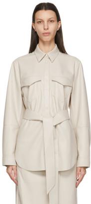 Nanushka Off-White Vegan Leather Artha Wrap Shirt