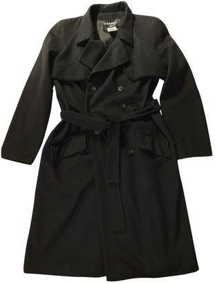 Chanel Black Cashmere Trench Coat for Women