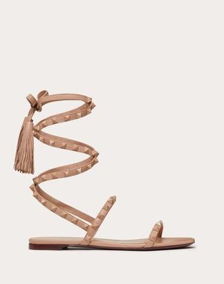 Valentino Rockstud Flair Nappa Leather Flat Sandal Women Black Lambskin 100% 35