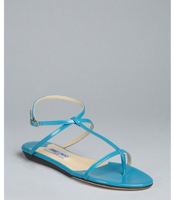 Jimmy Choo caribbean blue patent leather 'Fiona' thong sandals