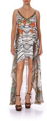 Camilla Flared Mini Dress w/ Sheer Overlay