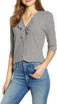 Lucky Brand Stripe Ruffle Long Sleeve Cotton Shirt
