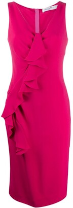Christian Dior Pre-Owned Ruffle Trim Fitted Dress