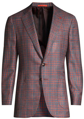 Isaia Two-Tone Gingham Wool Jacket