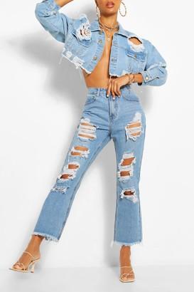 boohoo Rip Straight Leg Jean