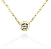 Kobelli Jewelry Mini Diamond Solitaire Bezel 14K Gold Necklace with 18-inch Chain