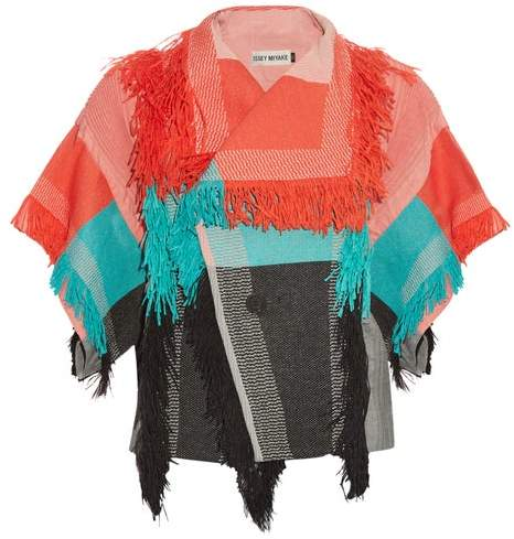 Issey Miyake Parrot Fringed Checked Jacket - Womens - Red Multi