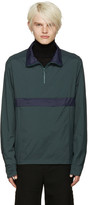 Cmmn Swdn Green & Navy Nylon Zip Jacket