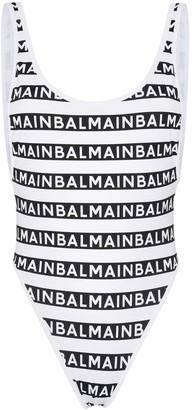 Balmain Logo-Stripe High-Leg Swimsuit