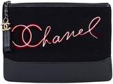 One Kings Lane Vintage Chanel Black Paris Salzburg Clutch - Vintage Lux