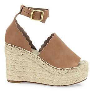 Chloé Women's Lauren Suede Ankle-Strap Espadrille Wedge Sandals
