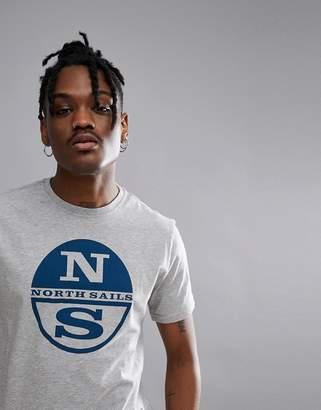 North Sails Slim Fit Large Logo T-Shirt In Grey