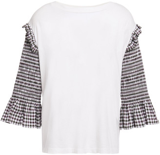 MM6 MAISON MARGIELA Paneled Checked Stretch-cotton Poplin And Cotton-jersey Top