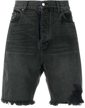 Amiri Ripped Denim Shorts