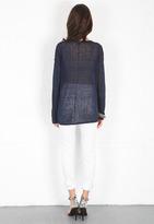 525 America Linen Slub V Neck Sweater in Darkest Indigo