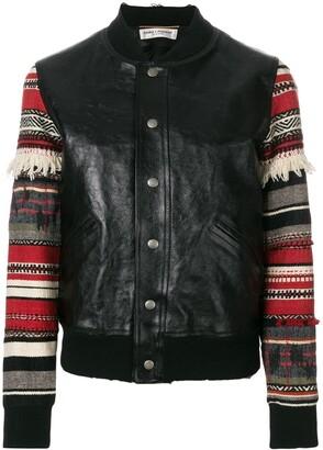 Saint Laurent Teddy embroidered-sleeve jacket