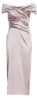 Talbot Runhof Women's Off-The-Shoulder Stretch Satin Duchess Cocktail Dress