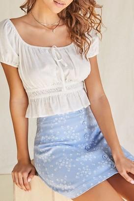 Forever 21 Floral A-Line Mini Skirt