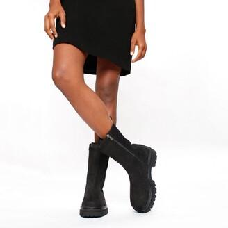 Daniel Izeat Black Suede Tall Chelsea Boots
