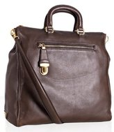 dark brown deerskin pocket front large tote